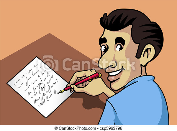 writing man cartoon style illustration a smiling man clip art rh canstockphoto com People Writing Clip Art Person Writing Clip Art