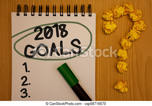 Writing note showing 2018 Goals 1. 2. 3.. Business photo showcasing Resolution Organize Beginnings Future Plans Notepad rotund black words green pen woody desk balls form query mark. - csp58716570