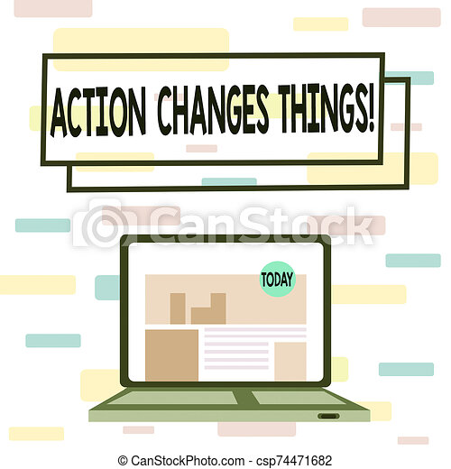 Writing note showing Action Changes Things. Business photo showcasing start doing something against problem resolve or achieve it Laptop Switched On with Website Homepage Screen Web Search. - csp74471682