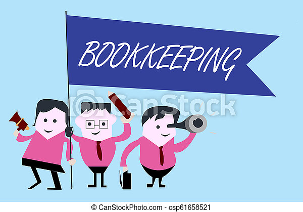 Writing note showing Bookkeeping. Business photo showcasing Keeping records of the financial affairs on a business - csp61658521