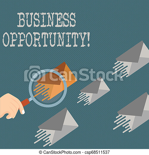 Writing note showing Business Opportunity. Business photo showcasing investment that allows the buyer to begin a business Magnifying Glass on Color Envelope and others has Same Shade. - csp68511537