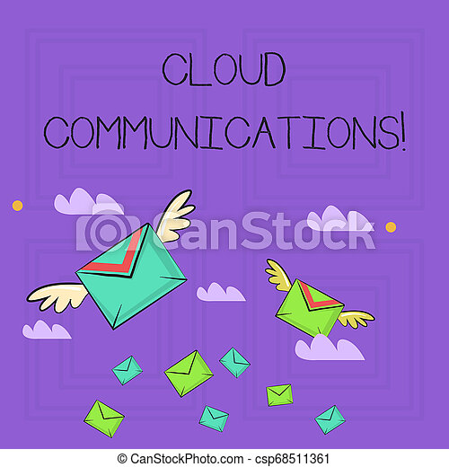 Writing note showing Cloud Communications. Business photo showcasing the internetbased voice and data communications Colorful Airmail Letter Envelopes and Two of Them with Wings. - csp68511361