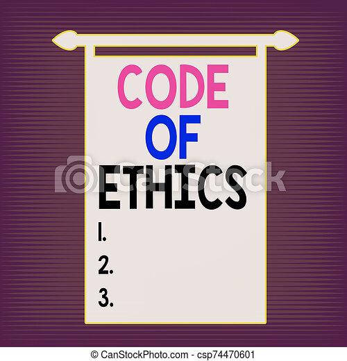 Writing note showing Code Of Ethics. Business photo showcasing basic guide for professional conduct and imposes duties Digital Sound Wave Seamless Horizontal Modulation Line Halftone Pattern. - csp74470601