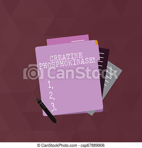 Writing note showing Creatine Phosphokinase. Business photo showcasing protein that aids chemical changes in the body Lined Paper Stationery Partly into View from Pastel Folder. - csp67889906