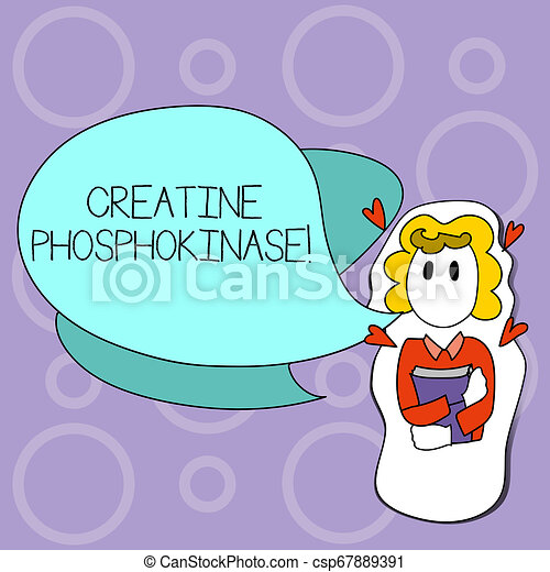 Writing note showing Creatine Phosphokinase. Business photo showcasing protein that aids chemical changes in the body Girl Holding Book with Hearts Around her and Speech Bubble. - csp67889391
