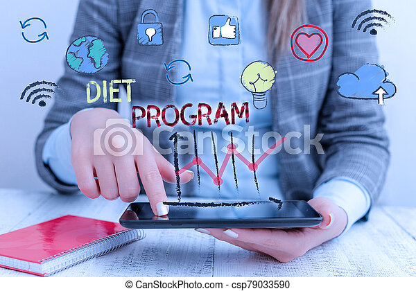 Writing note showing Diet Program. Business photo showcasing practice of eating food in a regulated and supervised fashion. - csp79033590