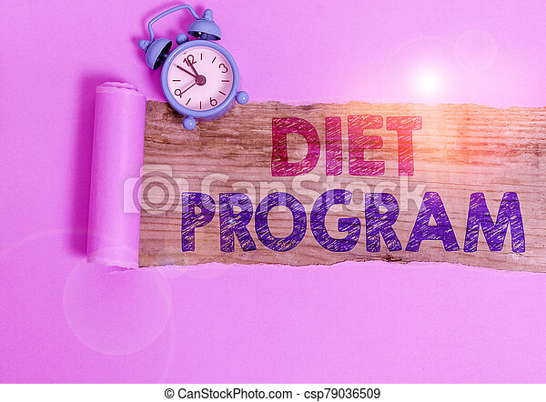 Writing note showing Diet Program. Business photo showcasing practice of eating food in a regulated and supervised fashion. - csp79036509