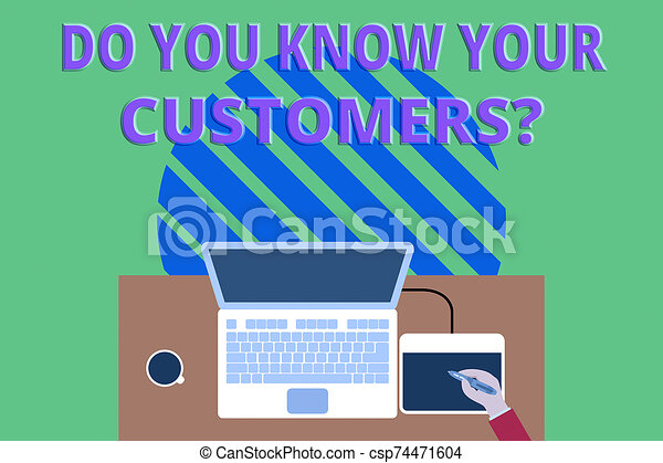 Writing note showing Do You Know Your Customers question. Business photo showcasing asking to identify a customer s is nature Upper view laptop wooden desk worker drawing tablet coffee cup office. - csp74471604