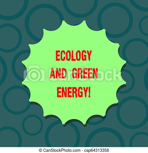 Writing note showing Ecology And Green Energy. Business photo showcasing Environment protection recycling reusing ecological Blank Seal with Shadow for Label Emblem Monogram Stamp Top Quality. - csp64313356