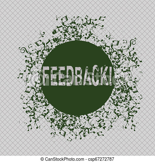 Writing note showing Feedback. Business photo showcasing Customer Review Opinion Reaction Evaluation Give a response back Disarrayed Jumbled Musical Notes Icon with Colorful Circle. - csp67272787