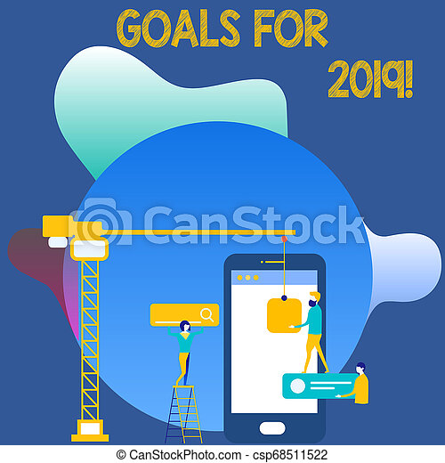 Writing note showing Goals For 2019. Business photo showcasing object of demonstratings ambition or effort aim or desired result Staff Working Together for Common Target Goal with SEO Process Icons. - csp68511522