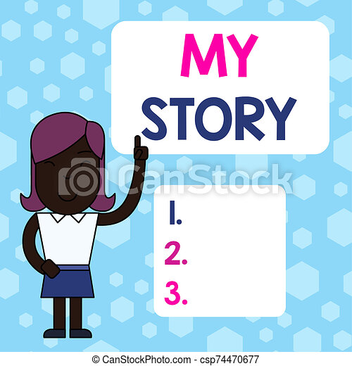 Writing note showing My Story. Business photo showcasing the things or situations that have happened to someone in life Woman Standing with Raised Left Index Finger Pointing at Blank Text Box. - csp74470677