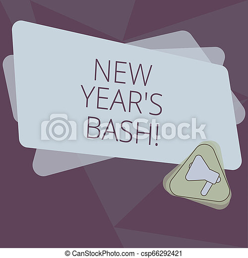 Writing note showing New Year S Bash. Business photo showcasing Celebration of the 365 days coming Happy party time Megaphone Inside Triangle and Blank Color Rectangle for Announcement. - csp66292421