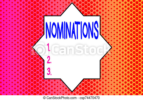 Writing note showing Nominations. Business photo showcasing action of nominating or state being nominated for prize Endless Different Sized Polka Dots in Random Repeated Mirror Reflection. - csp74470470
