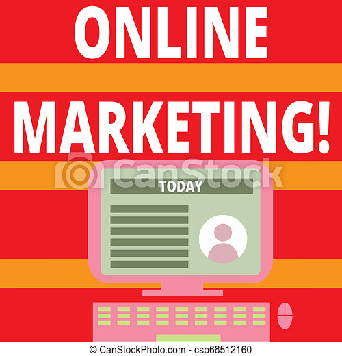 Writing note showing Online Marketing. Business photo showcasing leveraging web based channels spread about companys brand Computer Mounted on Stand with Online Profile Data on Screen. - csp68512160