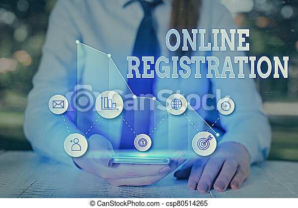 Writing note showing Online Registration. Business photo showcasing Process to Subscribe to Join an event club via Internet. - csp80514265