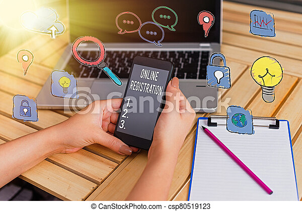 Writing note showing Online Registration. Business photo showcasing Process to Subscribe to Join an event club via Internet. - csp80519123