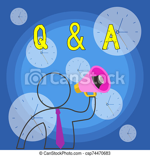 Writing note showing Q And A Question. Business photo showcasing in which demonstrating asks questions and another one answers them Outline Symbol Man Loudspeaker Making Announcement Giving Instructions. - csp74470683