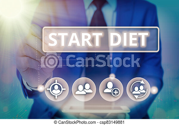 Writing note showing Start Diet. Business photo showcasing the practice of eating food in a regulated and supervised fashion Information digital technology network infographic elements. - csp83149881