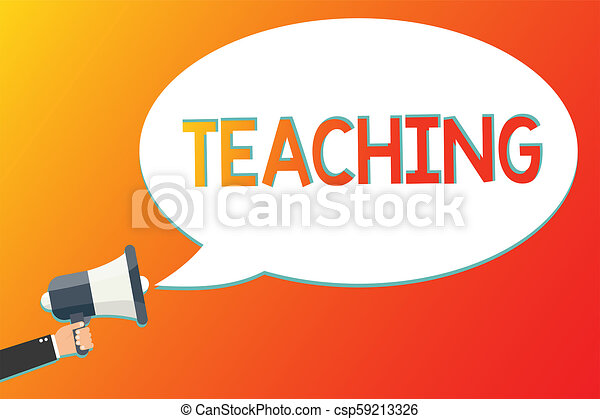 Writing note showing Teaching  Business photo showcasing Act of giving  information, explaining one subject to a person Megaphone loudspeaker  screaming