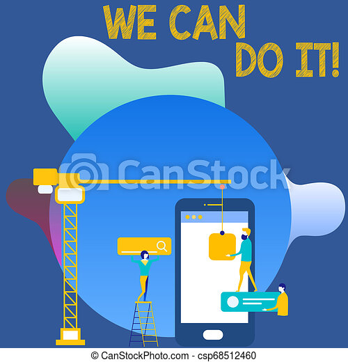 Writing note showing We Can Do It. Business photo showcasing see yourself as powerful capable demonstrating Staff Working Together for Common Target Goal with SEO Process Icons. - csp68512460
