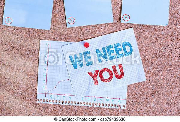 Writing note showing We Need You. Business photo showcasing asking someone to work together for certain job or target Corkboard size paper thumbtack sheet billboard notice board. - csp79433636