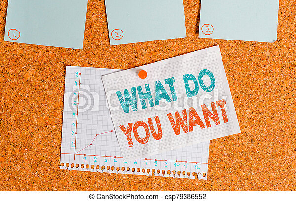 Writing note showing What Do You Want. Business photo showcasing used for offering something to someone or asking their need Corkboard size paper thumbtack sheet billboard notice board. - csp79386552