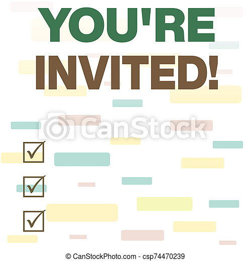 Writing note showing You Re Invited. Business photo showcasing make a polite friendly request to someone go somewhere Seamless Infinite Different Size Multicolored Tiles Long Squares. - csp74470239