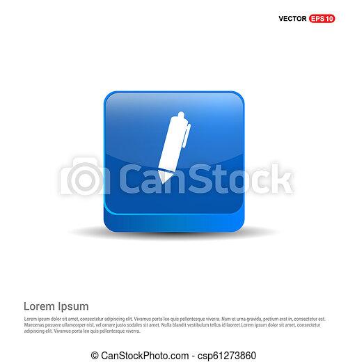 Writing pen icon - 3d Blue Button - csp61273860