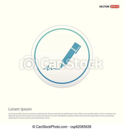 Writing pen icon - white circle button - csp62065638