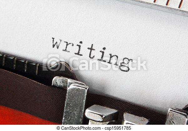 writing text on retro typewriter - csp15951785