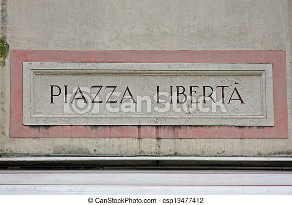 written freedom square of a city square in remembrance of World War II - csp13477412
