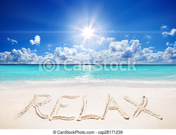 written relax on sand of the beach - csp28171239