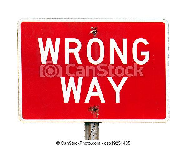 Wrong Way sign - csp19251435