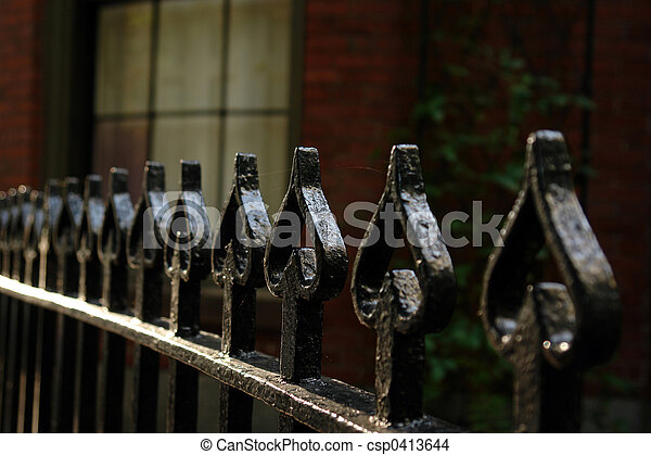 Wrought Iron Fence Of Spades - csp0413644