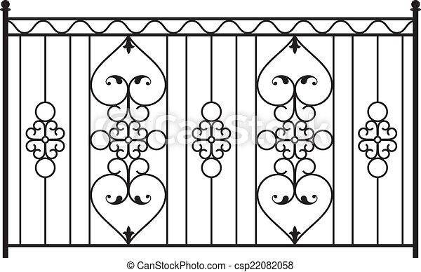 Clipart vector of wrought iron gate door fence window for Window design clipart