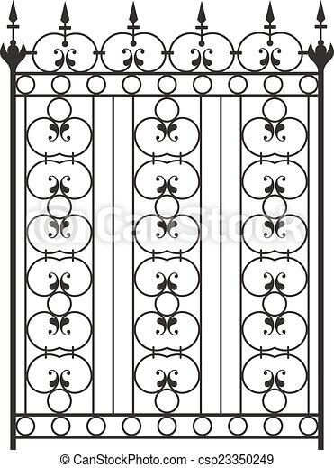 Wrought Iron Gate, Door, Fence, Window, Grill, Railing Design - csp23350249