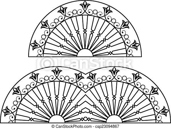 Wrought Iron Grill, Gate, Door, Fence, Window, Railing Design - csp23094867
