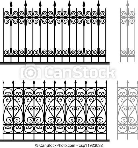 Wrought iron modular railings - csp11923032