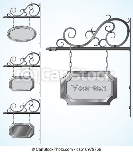 wrought iron signs for old-fashioned design - csp16979766