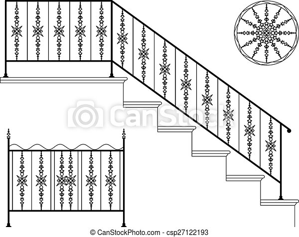 Wrought Iron Stairs Railing Clipart And Stock Illustrations 31