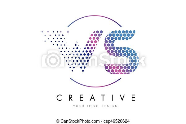 Ws W S Pink Magenta Dotted Bubble Letter Logo Design Vector Ws W S