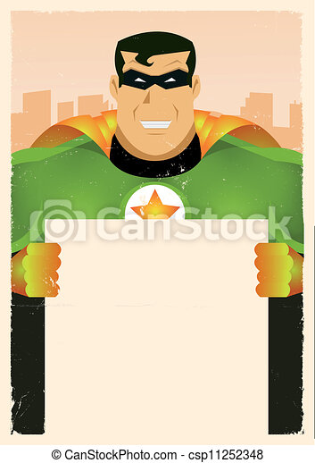 wspaniały, komik, bohater, dzierżawa, znak - csp11252348