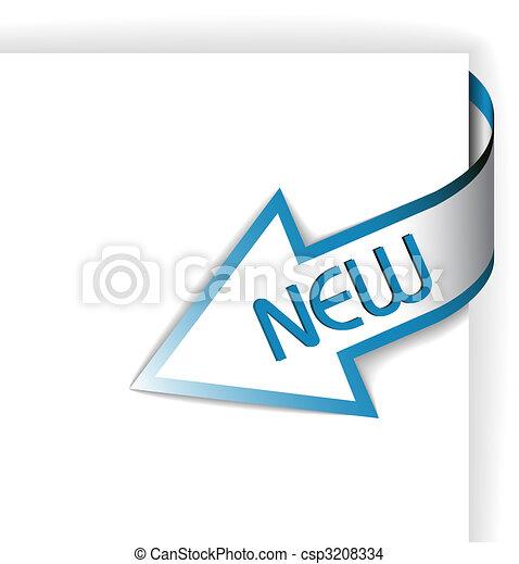 wstążka, błękitny, -, róg, strzała, nowy - csp3208334