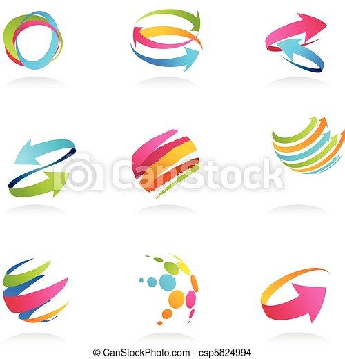 wstążki, abstrakcyjny, strzały, ikony - csp5824994