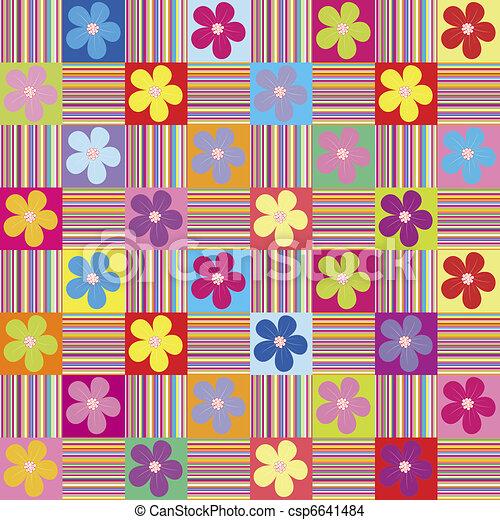 wth, padrão, flores, colorido, listras - csp6641484