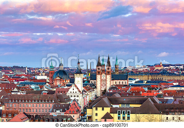 Wurzburg at sunset, Northern Bavaria, Germany - csp89100701