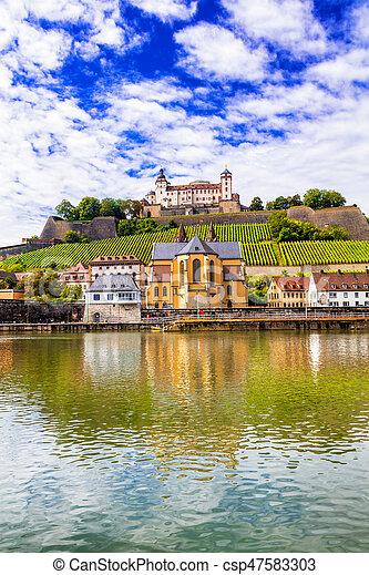 Wurzburg - beaurtiful medieval town in Germany, Northen Bavaria - csp47583303