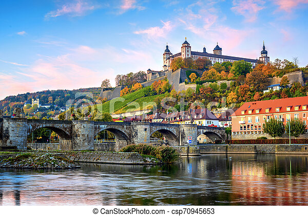 Wurzburg, Germany, Marienberg Fortress and the Old Main Bridge - csp70945653