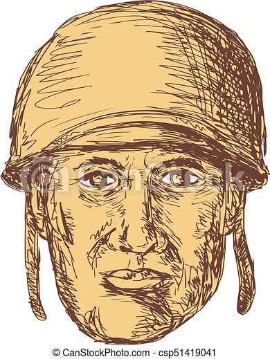 Ww2 American Soldier Head Drawing Drawing Sketch Style Illustration